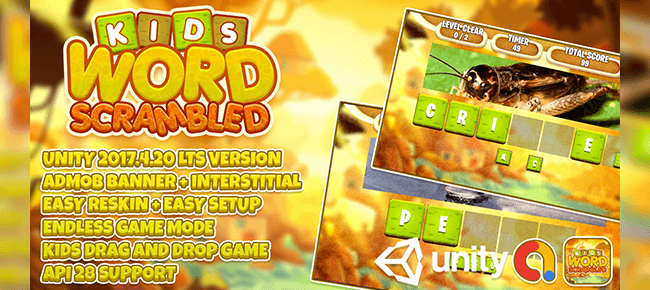 Kids Word Scrambled (Drag  ) + Unity3d LTS + Admob Ads Ready + EASY Reskin