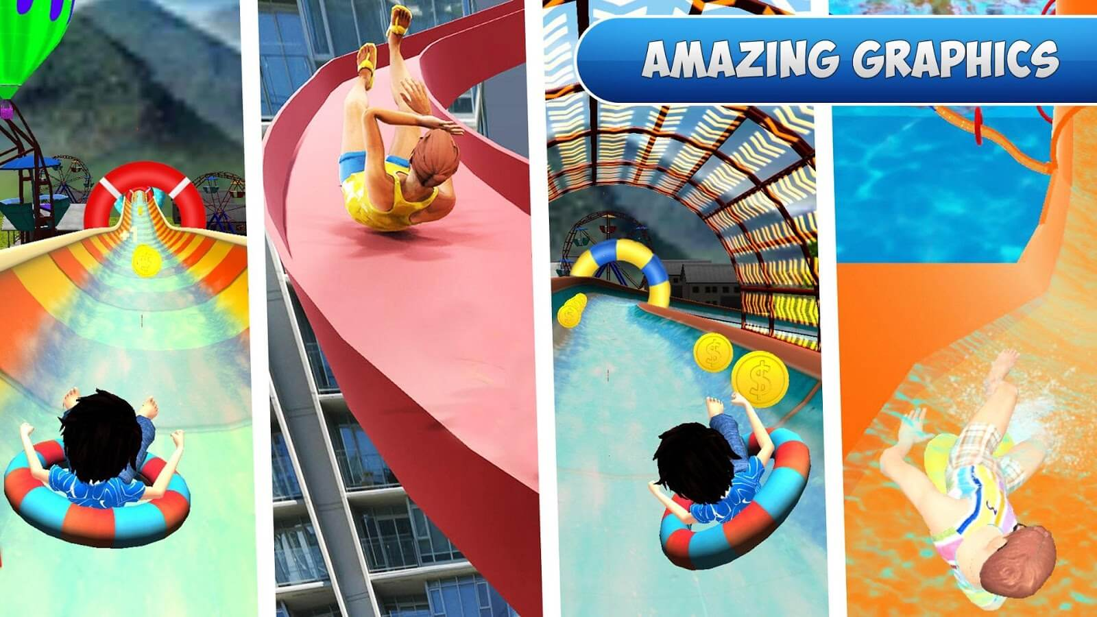 Water Slide Rush Racing : Uphill Water Park Stunt & Ride Adventure