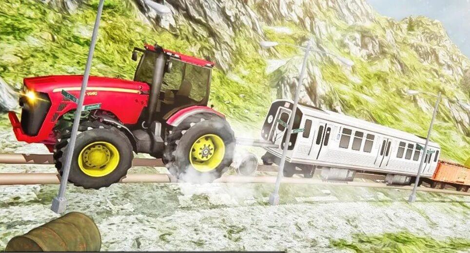 Chained Tractor Towing Train : Tractor Pull Simulator