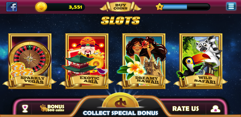 Slots 4 Themes HD - Sparkly Vegas , Exotic Asia , Dreamy Hawai , Wild Safari.