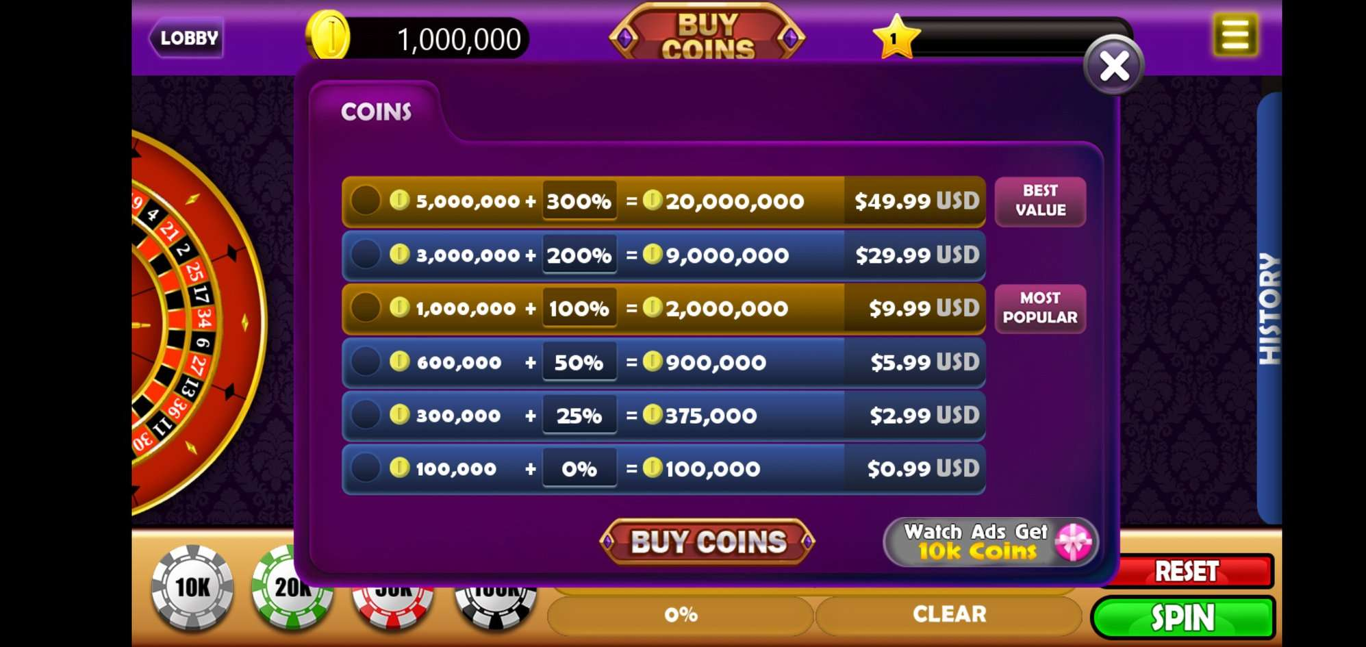 4 in 1 Slots, Roulette, Blackjack, Baccarat