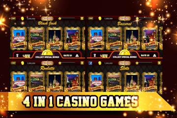 4 in 1 Slots, Baccarat, Roulette, Blackjack