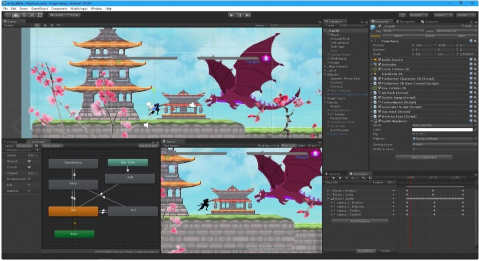 Dragon Ninja - 2D Complete platformer slash game