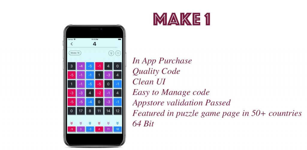 Make 1 number puzzle game